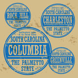 Stamp set. Grunge rubber stamp set with names of South Carolina cities Stock Images