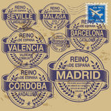 Stamp set. Grunge rubber stamp set with names of Spain cities Stock Images