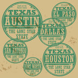 Stamp set. Grunge rubber stamp set with names of Texas cities Stock Photos