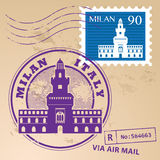 Stamp set Milan Royalty Free Stock Image