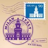 Stamp set Milan. Grunge rubber stamp set with words Milan, Italy inside Royalty Free Stock Image