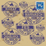 Stamp set Morocco cities. Grunge rubber stamp set with names of Morocco cities Royalty Free Stock Image