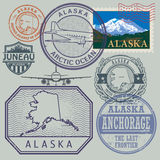 Stamp set with the name and map of Alaska Stock Image