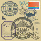 Stamp set with the name and map of Florida Stock Photos