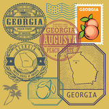 Stamp set with the name and map of Georgia Stock Images