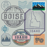 Stamp set with the name and map of Idaho Stock Images