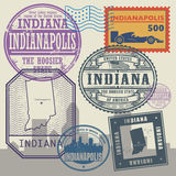 Stamp set with the name and map of Indiana Royalty Free Stock Photography