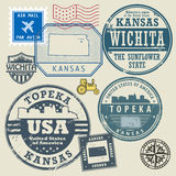 Stamp set with the name and map of Kansas. United States, vector illustration Royalty Free Stock Images