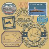 Stamp set with the name and map of Massachusetts Stock Photos