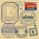 Stamp set with the name and map of Minnesota Stock Photos
