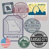 Stamp set with the name and map of Missouri Royalty Free Stock Image
