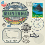 Stamp set with the name and map of Montana Royalty Free Stock Photo