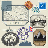 Stamp set with the name and map of Nepal Stock Image