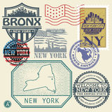 Stamp set with the name and map of New York Stock Photo