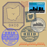 Stamp set with the name and map of Ohio Royalty Free Stock Images