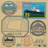 Stamp set with the name and map of Oregon Royalty Free Stock Photo