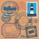 Stamp set with the name and map of Pennsylvania Stock Photography
