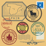 Stamp set with the name and map of Spain Royalty Free Stock Image