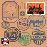 Stamp set with the name and map of Texas. United States, vector illustration Stock Photos