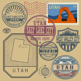 Stamp set with the name and map of Utah. United States, vector illustration Royalty Free Stock Photos