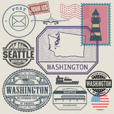 Stamp set with the name and map of Washington Stock Photography