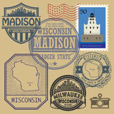 Stamp set with the name and map of Wisconsin Royalty Free Stock Images