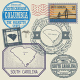 Stamp set with the name of South Carolina. Stamp set with the name and map of South Carolina, United States, vector illustration Royalty Free Stock Image
