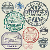 Stamp set with names of Delaware cities Stock Image