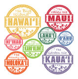 Stamp set with palms. Grunge rubber stamps with palms and the Hawaii islands names inside Royalty Free Stock Image