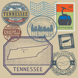 Stamp set Tennessee, United States Royalty Free Stock Images