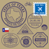 Stamp set Texas, USA. Stamp set with name and map of Texas, USA vector illustration