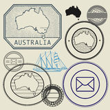 Stamp set with the text and map of Australia Royalty Free Stock Image