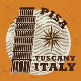 Stamp set. With words Pisa, Tuscany, Italy inside stock illustration