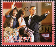Stamp shows Barack Obama and your family Stock Image