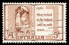 Stamp shows The Holy Virgin Mary and baby Jesus. Circa 1961 Royalty Free Stock Photos