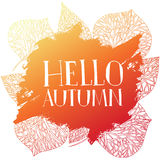 Stamp silhouette Hello, Autumn. Template design of logo, stamp silhouette Hello, Autumn. Watercolor orange texture. Vector Stock Photography