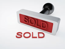 Stamp sold.  white. Image of red stamp sold 3d illustration.  white Royalty Free Stock Photography