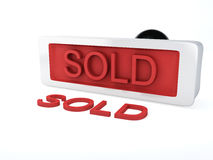 Stamp sold.  white. Image of red stamp sold 3d illustration.  white Royalty Free Stock Photo
