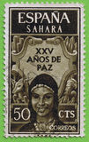 Stamp Spanish Sahara Stock Image