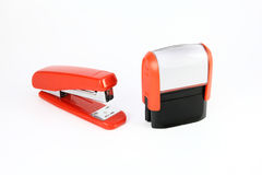 Stamp and stampler. Composition of the stamps and placed stapler Royalty Free Stock Photos