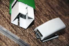 Stamp stapler and pen Royalty Free Stock Photography