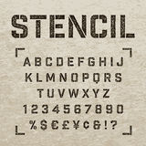 Stamp stencil letters, numbers and symbols. Grunge alphabet. Stock Photos