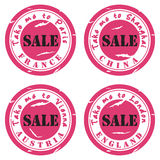 Stamp sticker sale. Stamp for sale, for travel and shopping stock illustration
