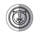 Stamp sticker silhouette husky dog animal. Illustration Royalty Free Stock Images