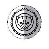 Stamp sticker silhouette kitty animal Stock Photo