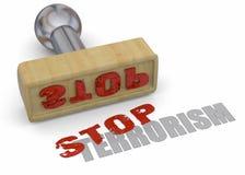 Stamp Stop Terrorism - 3D. Stamp Stop Terrorism on white background Stock Photos