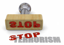 Stamp Stop Terrorism - 3D. Stamp Stop Terrorism on white background Royalty Free Stock Photo