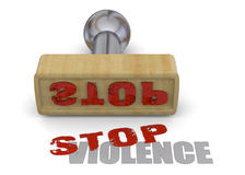 Stamp Stop Violence - 3D Stock Photo