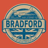 Stamp or tag with airplane text Welcome to Bradford, United Kingdom. Grunge rubber stamp or tag with airplane and text Welcome to Bradford, United Kingdom Royalty Free Stock Image
