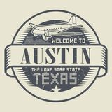 Stamp or tag with airplane and text Welcome to Texas, Austin. Grunge rubber stamp or tag with airplane and text Welcome to Texas, Austin, vector illustration Stock Image